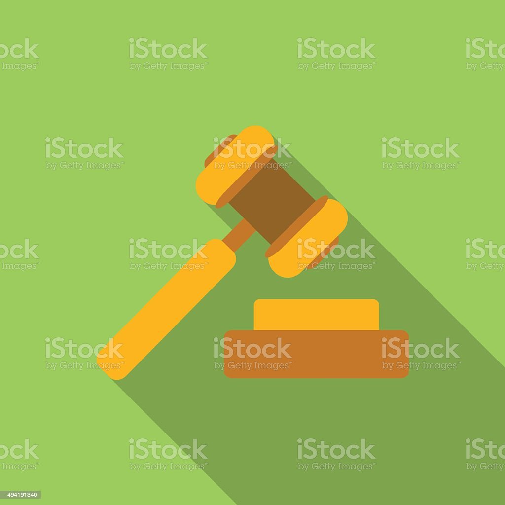 Hammer of justice flat icon vector art illustration