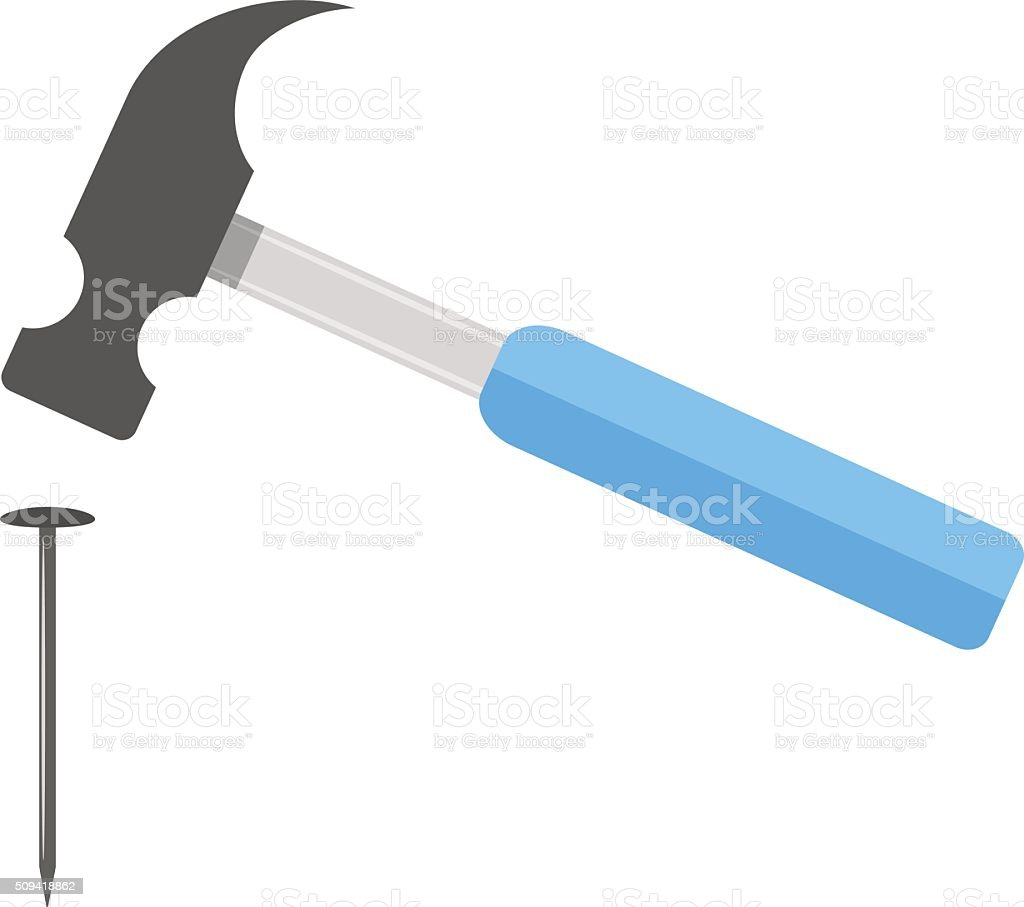 hammer strikes the nail vector art illustration