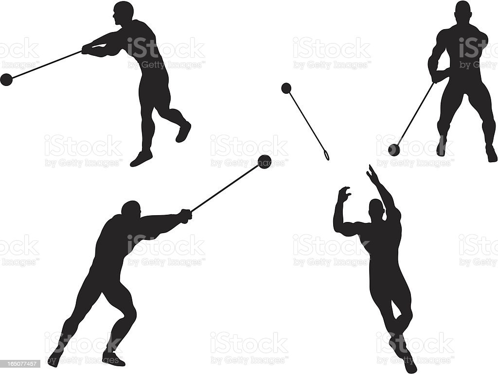 Hammer Throw Silhouettes royalty-free stock vector art