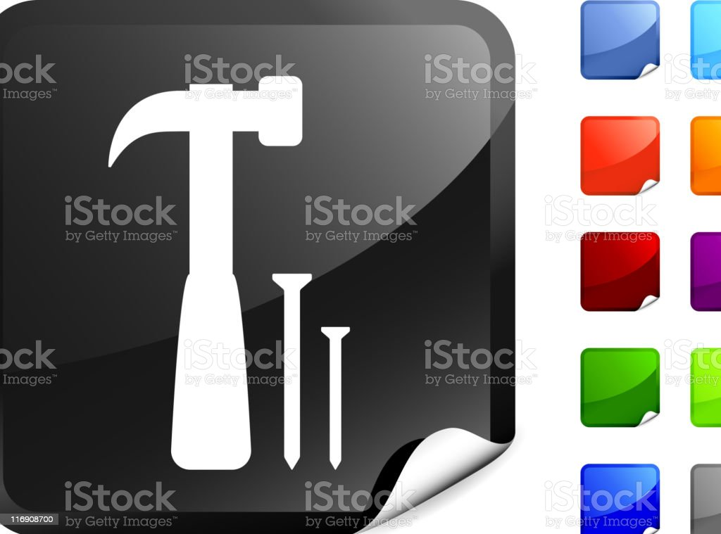 hammer with nails royalty free vector art on a Sticker royalty-free stock vector art