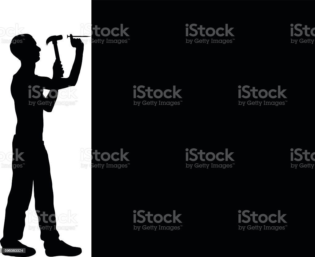 Hammering vector art illustration