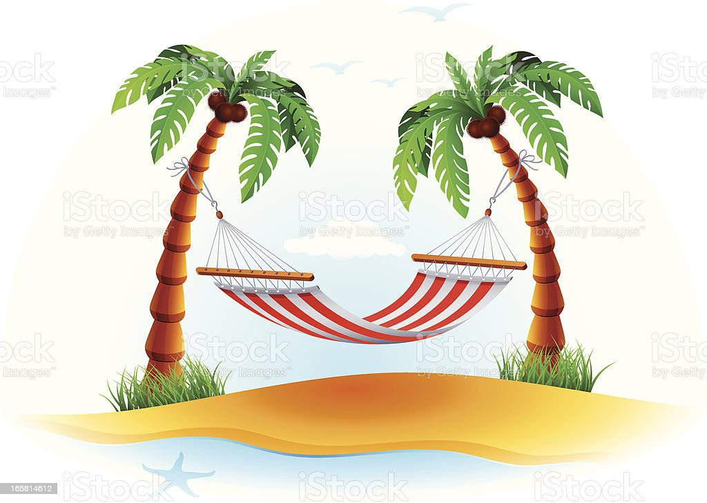 Hammock with Palm Tress royalty-free stock vector art