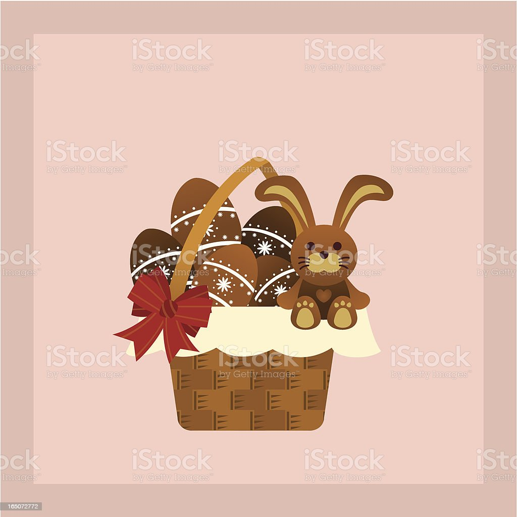 hamper with chocolate eggs and easter bunny vector art illustration