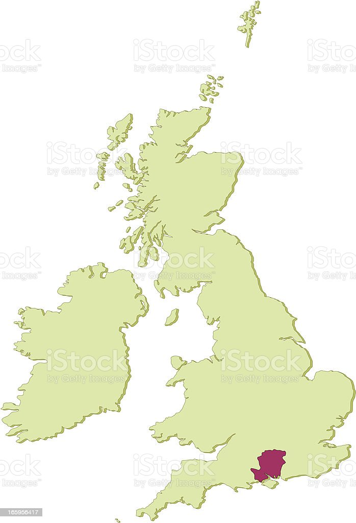 UK Hampshire map vector art illustration