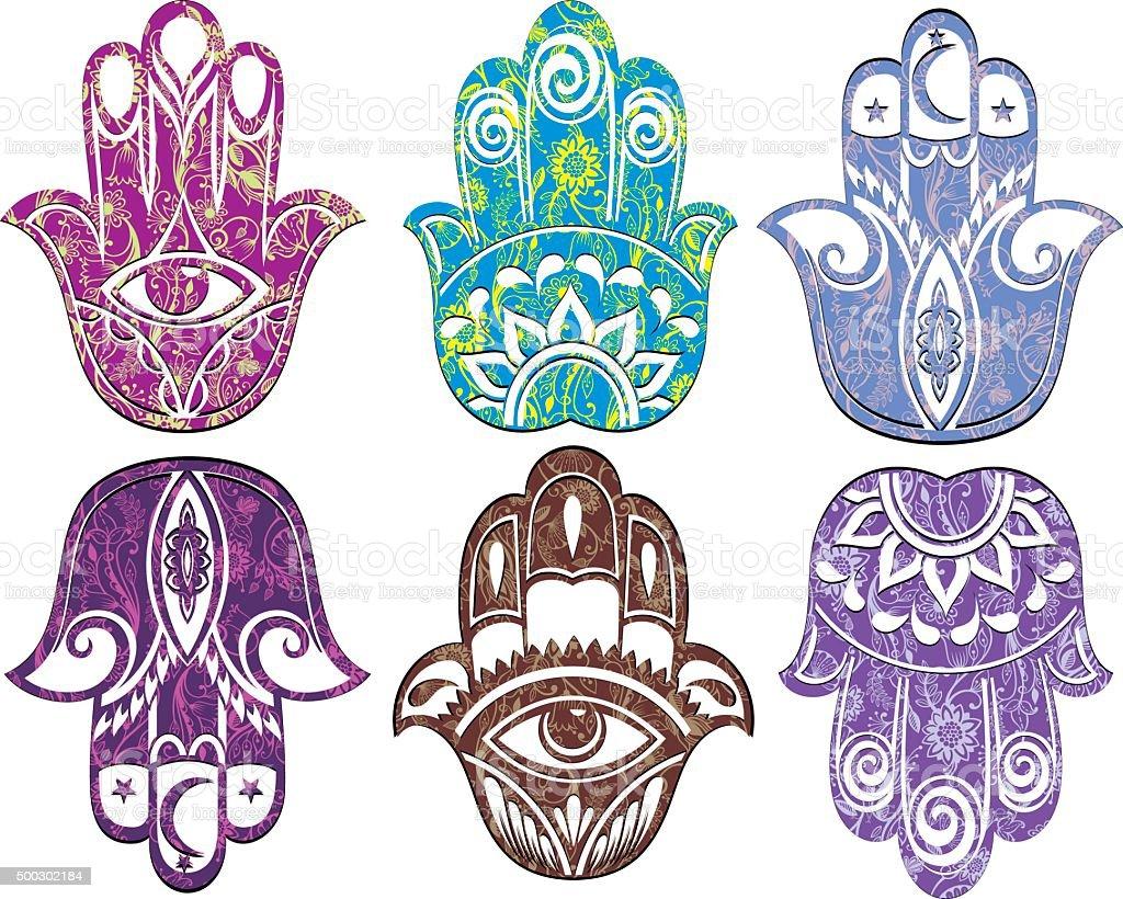 Hamsa hand vector art illustration