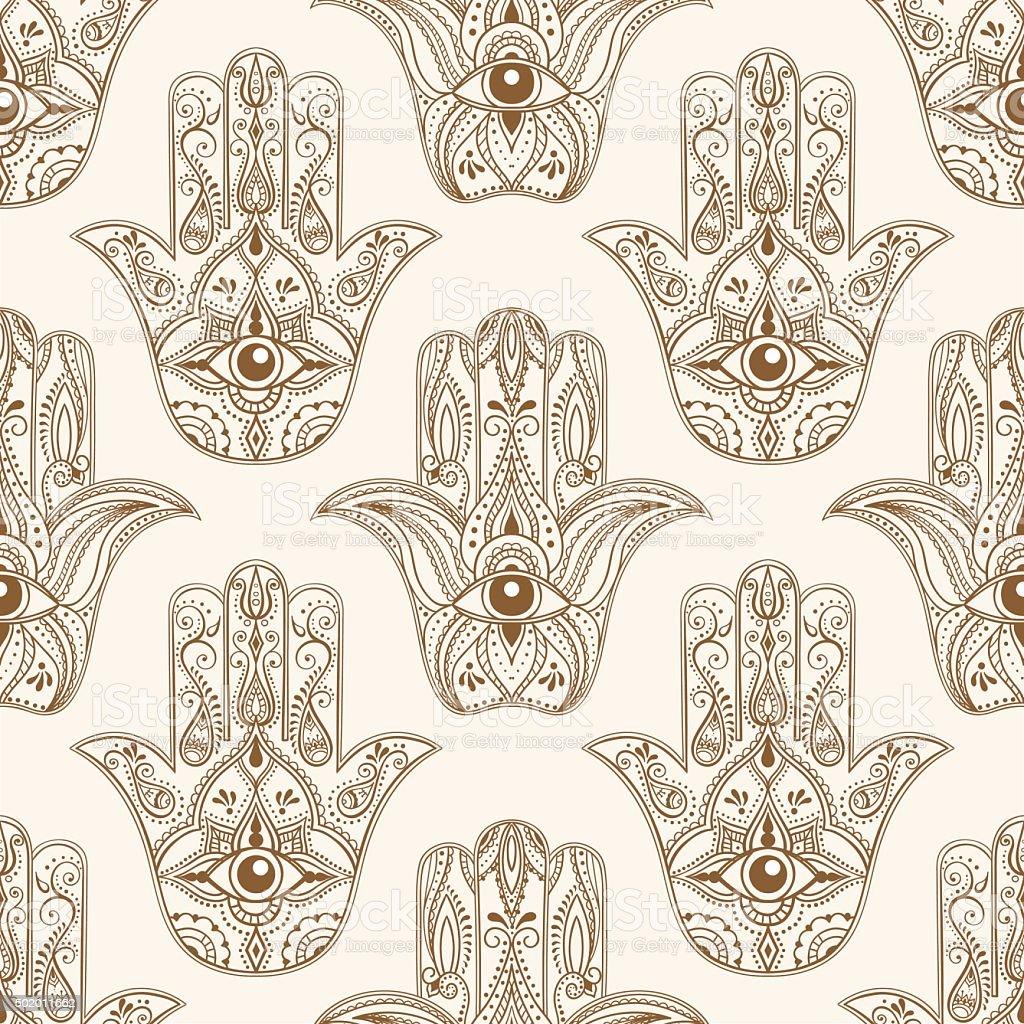 hamsa symbol seamless pattern vector art illustration