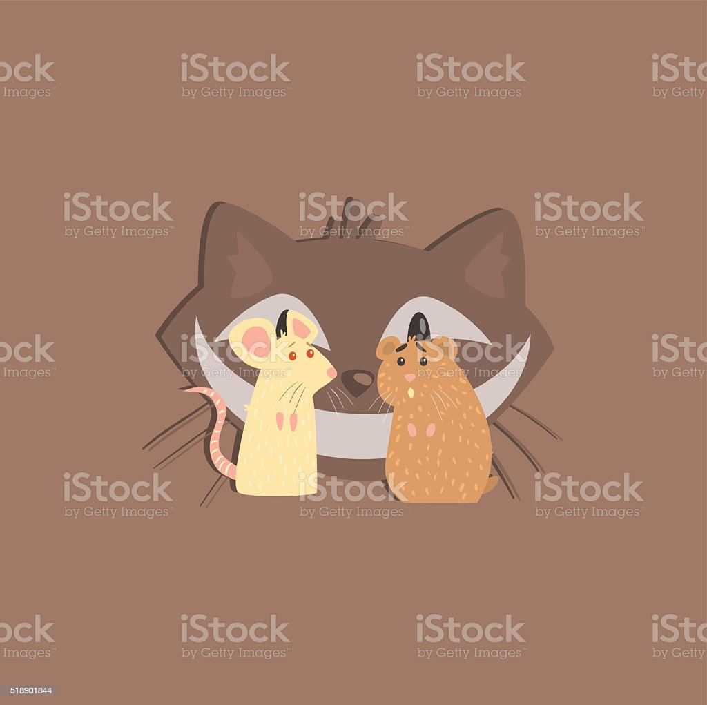 Hamster, Mous And Cats Head Image vector art illustration