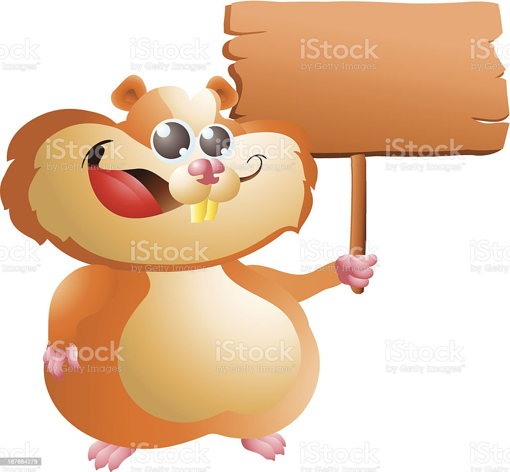 hamster with sign royalty-free stock vector art