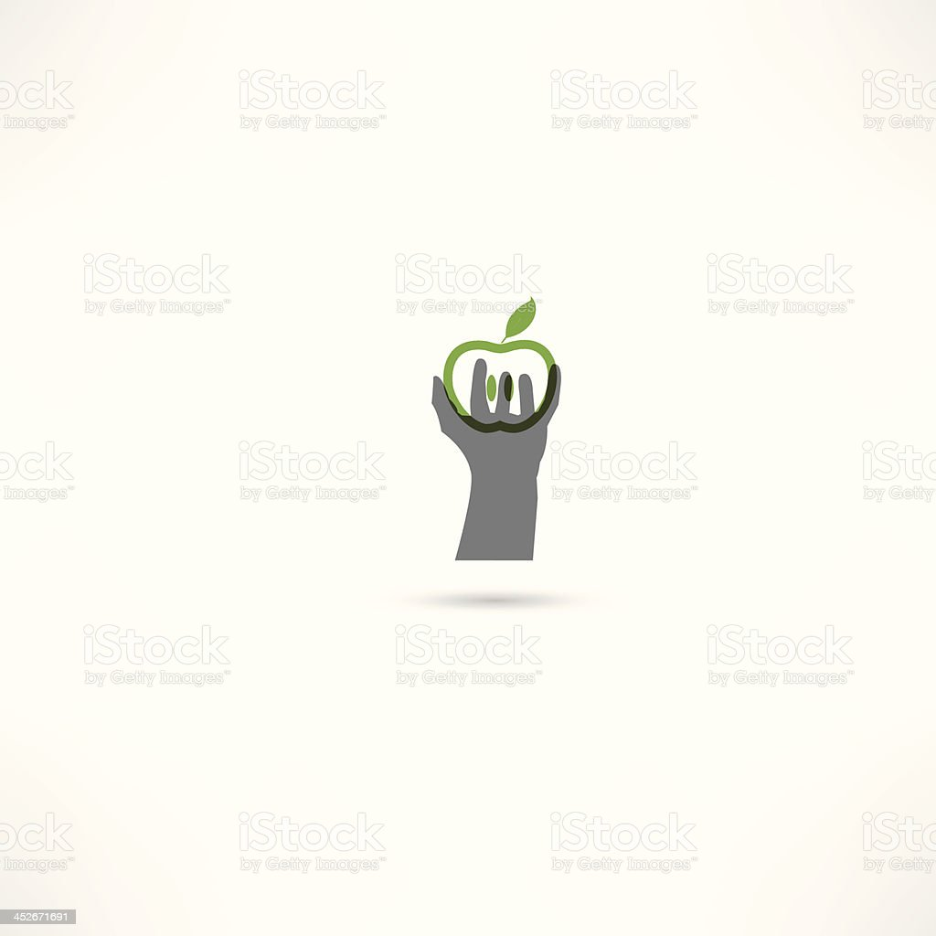 hand and apple icons vector art illustration