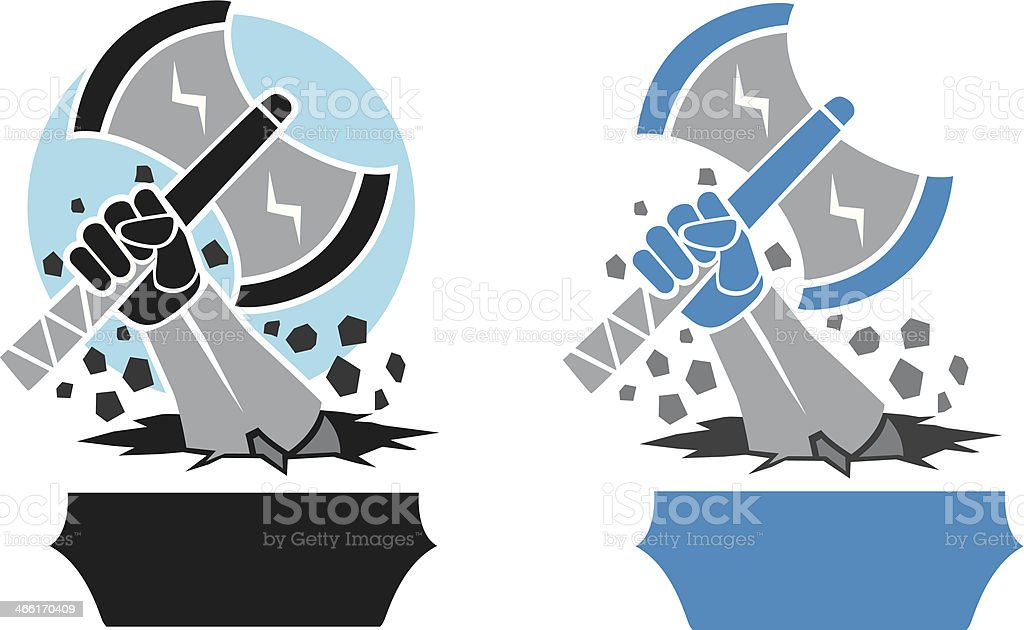 Hand and Axe icon vector art illustration
