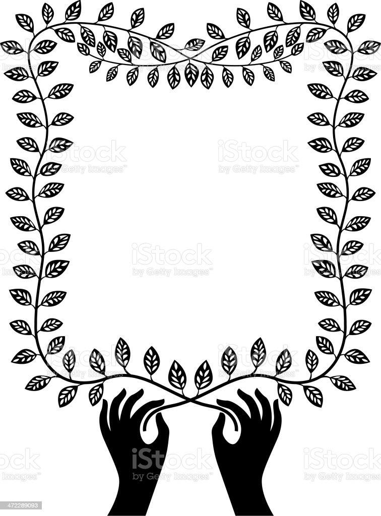 Hand and branch border vector art illustration