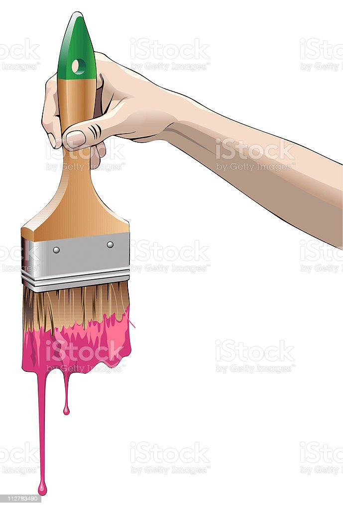 Hand and brush with drops royalty-free stock vector art