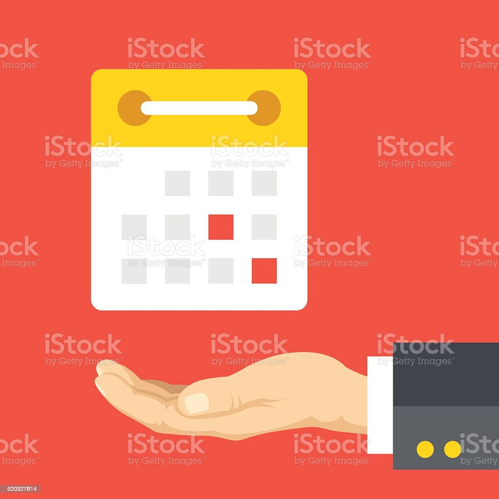 Hand and calendar flat illustration concept vector art illustration