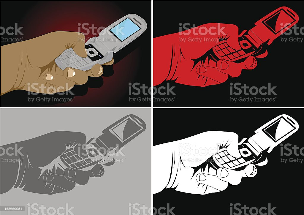 Hand and cel phone royalty-free stock vector art