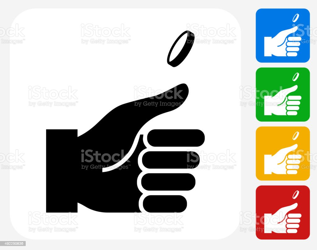 Hand and Coin Icon Flat Graphic Design vector art illustration