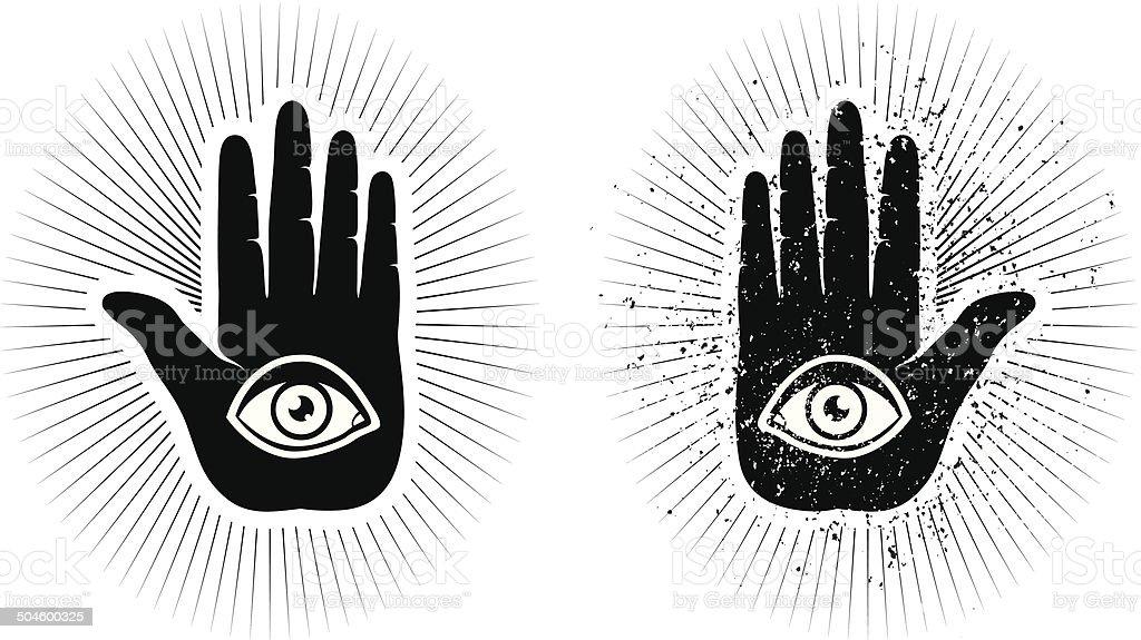 hand and eye vector art illustration