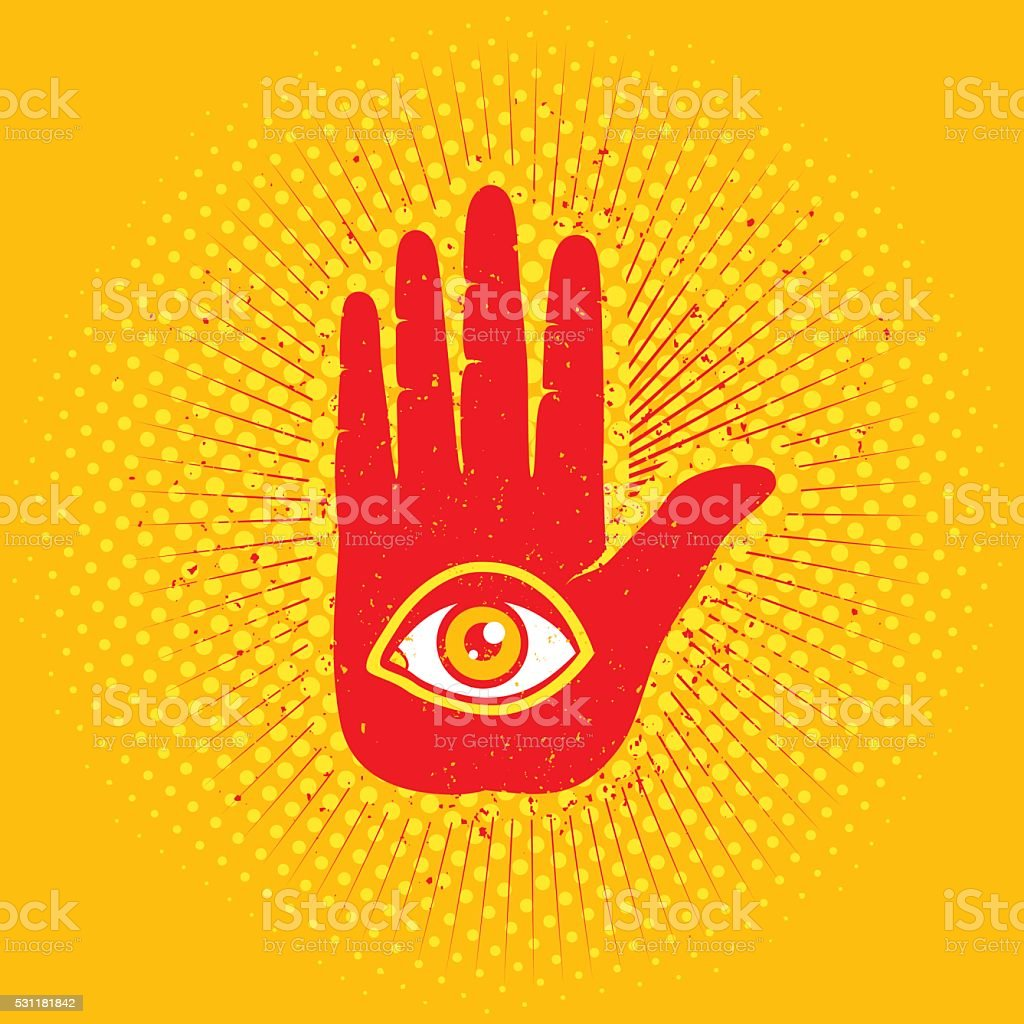 Hand and eye vector art illustration