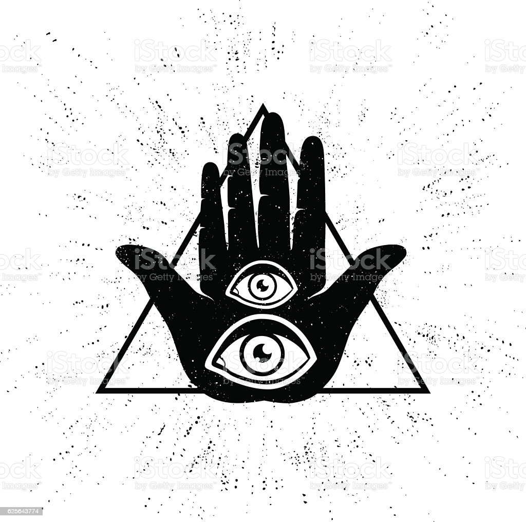 hand and eyes vector art illustration