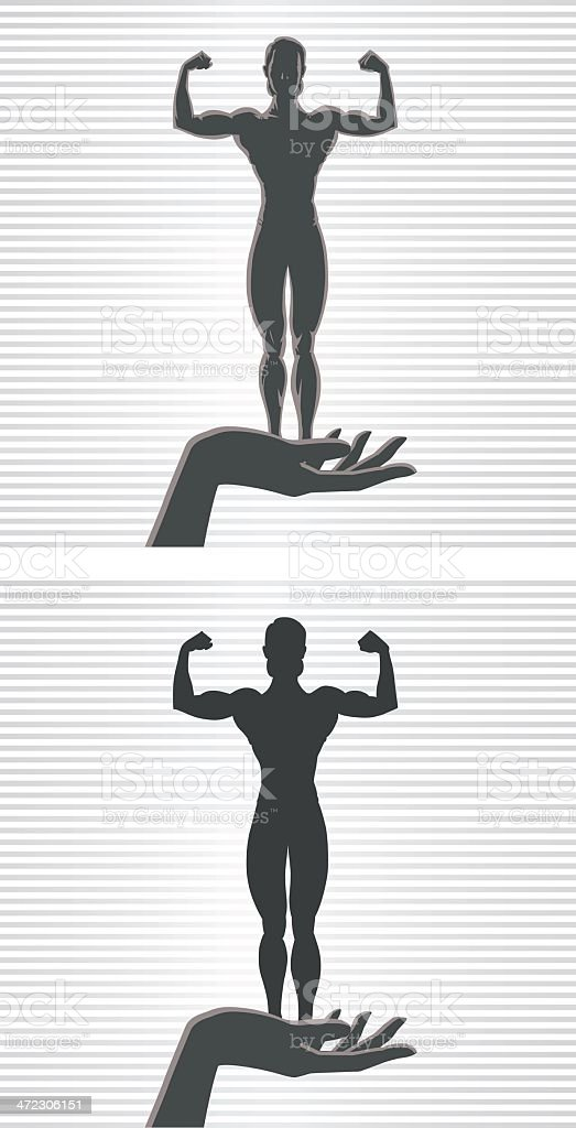 Hand and Female Bodybuilder royalty-free stock vector art