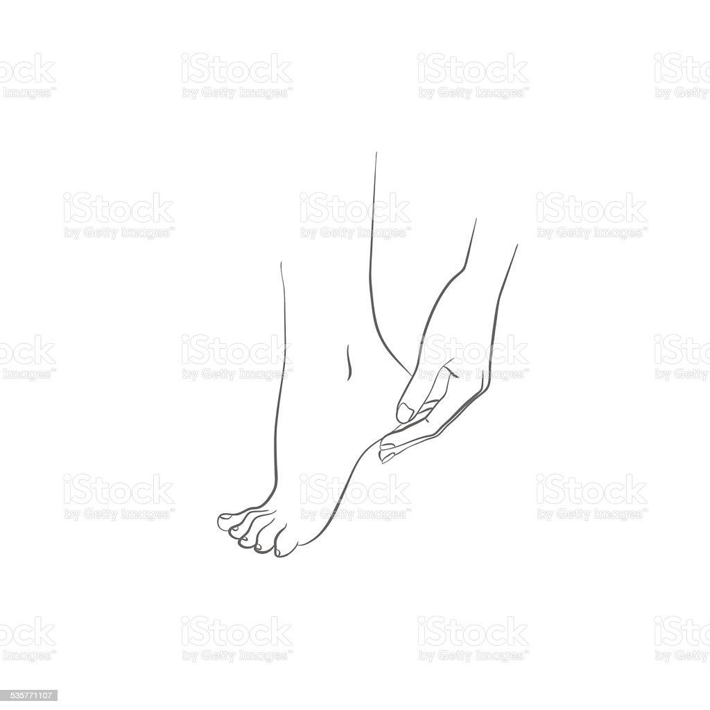 Mãos e pés, ilustração vetorial de cuidados com o corpo vetor e ilustração royalty-free royalty-free