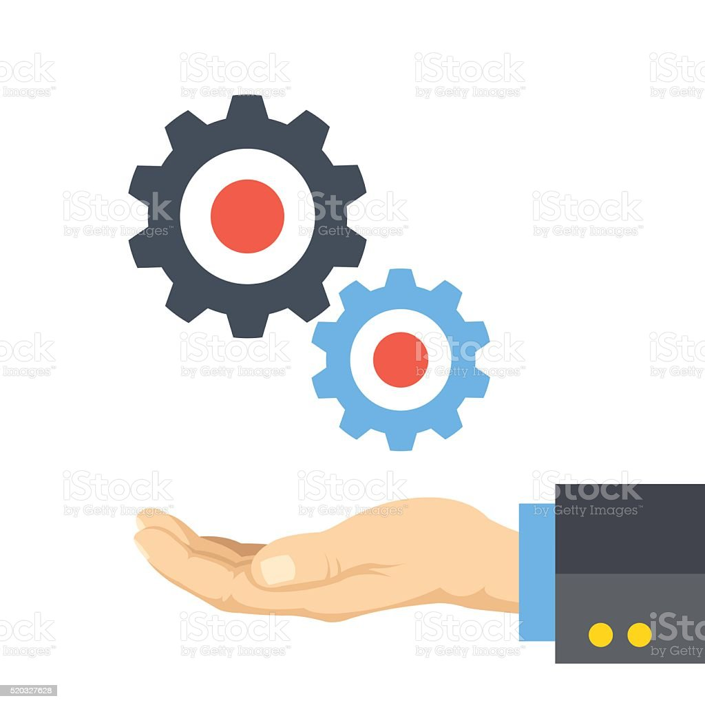Hand and gears flat illustration concept vector art illustration