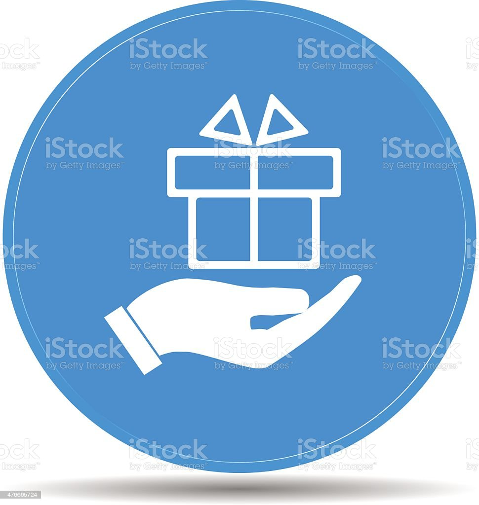 hand and gift vector icon vector art illustration
