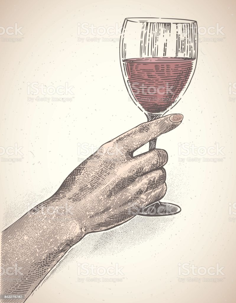 Hand and glass of wine. vector art illustration