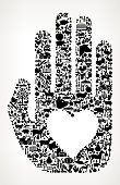 Hand and Heart Farming and Agriculture Black Icon Pattern