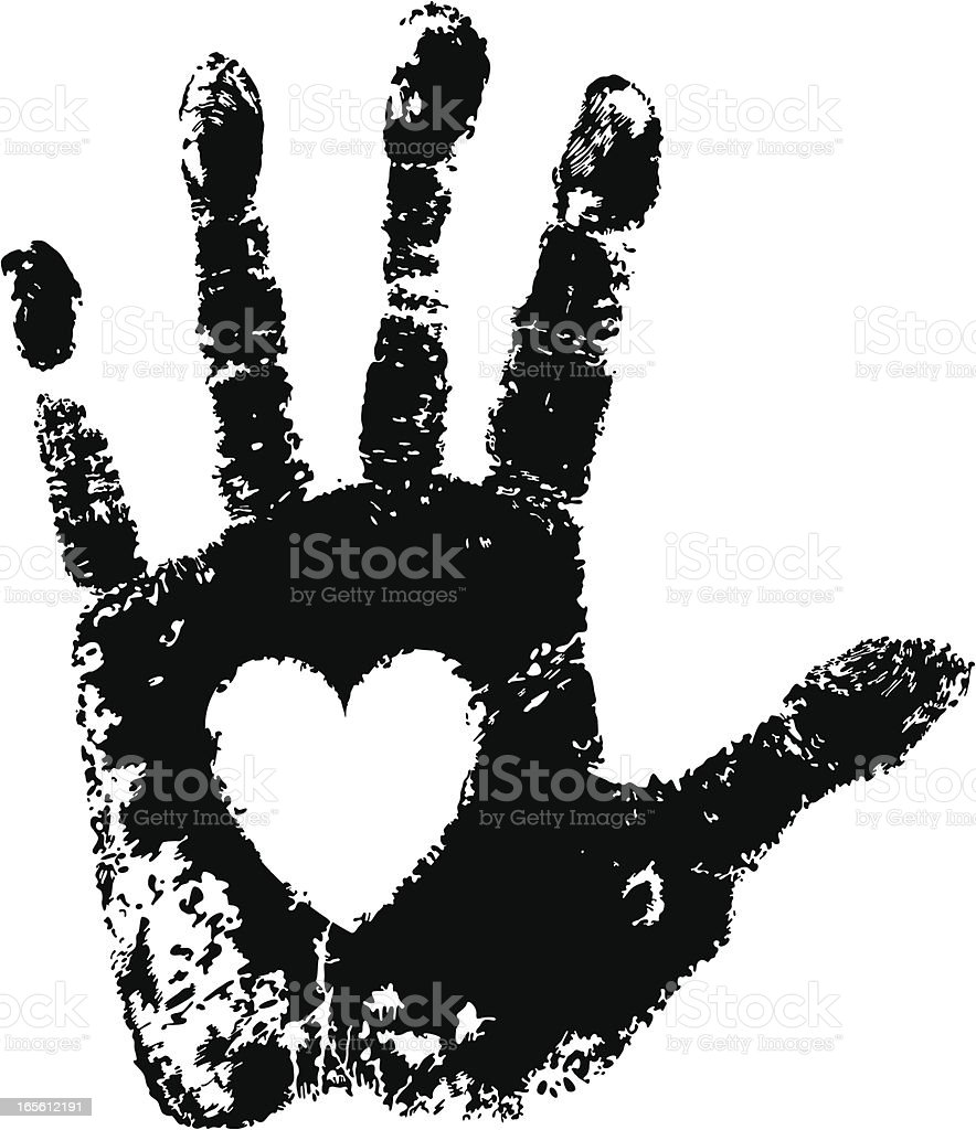 Hand and Heart vector art illustration
