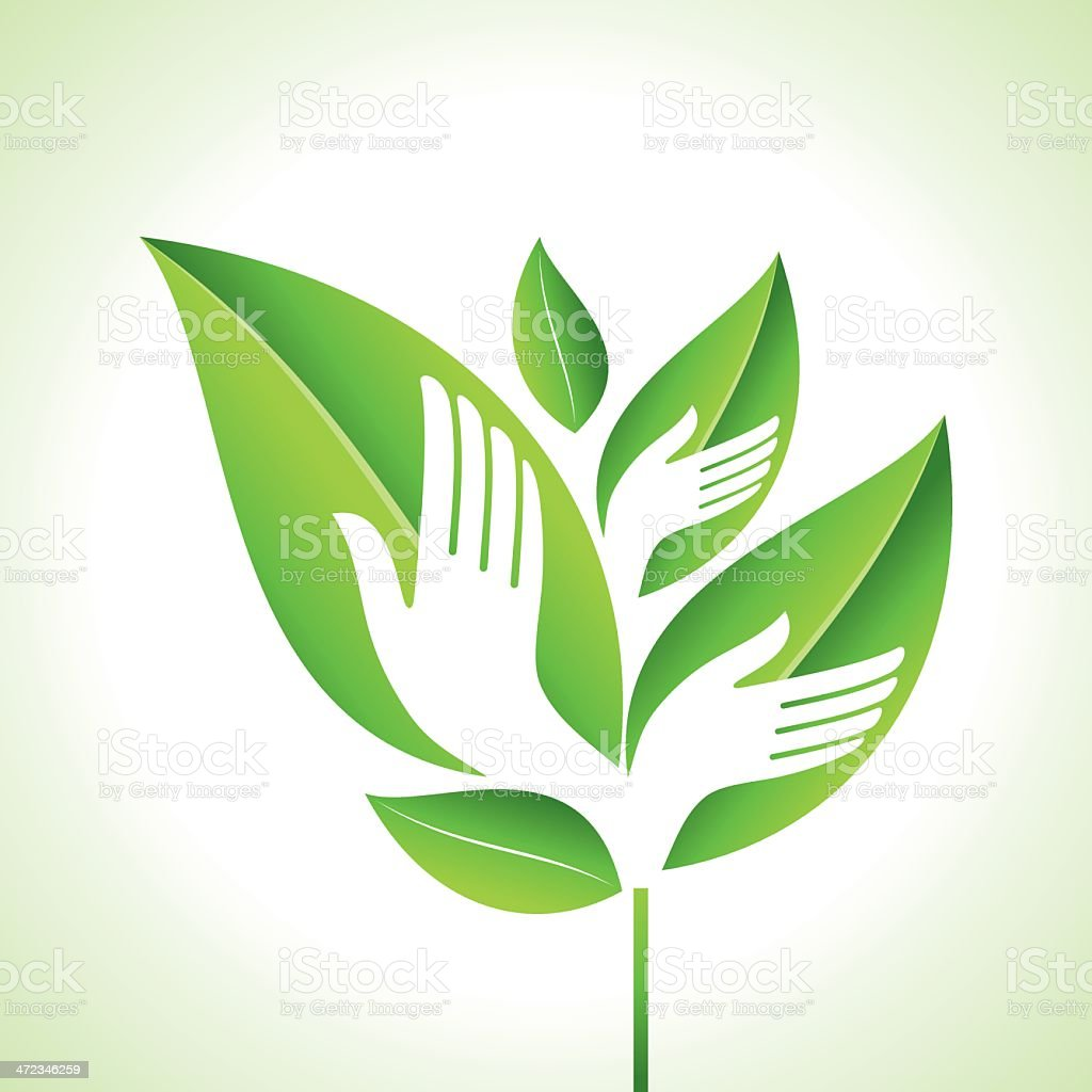 Hand and Leaf - Eco concept vector art illustration