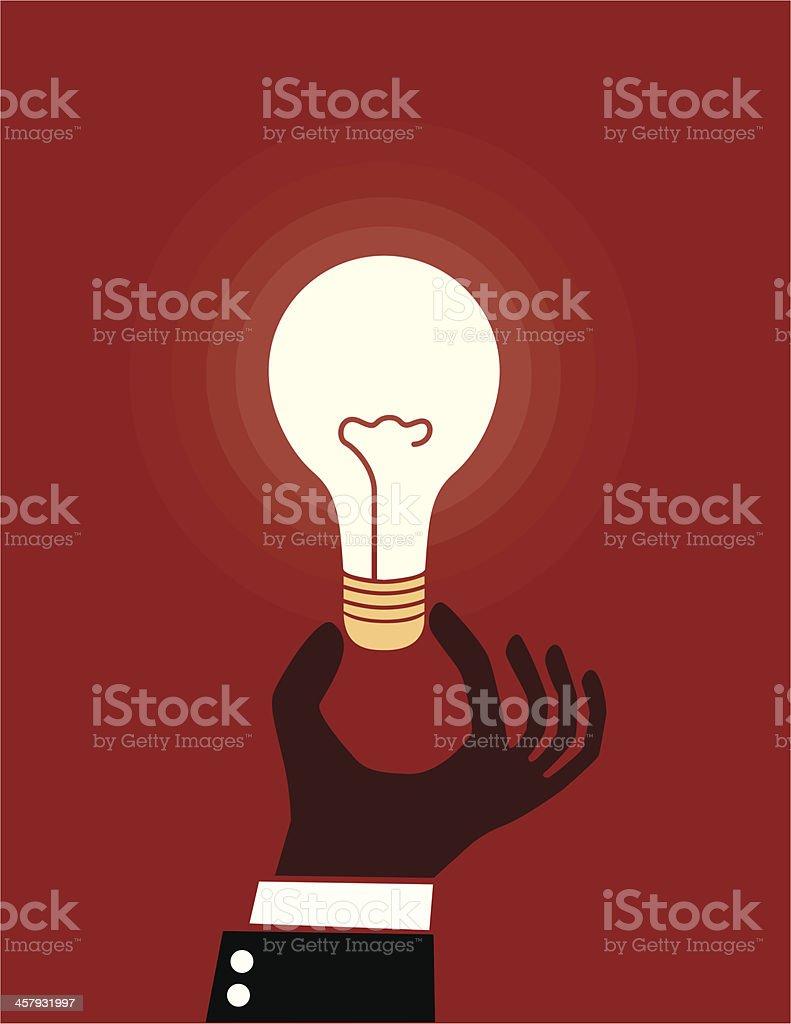 Hand and light bulb royalty-free stock vector art