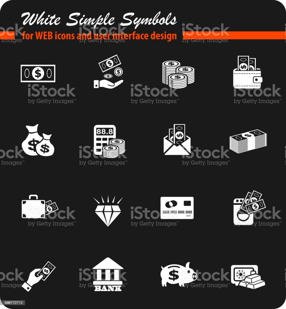 hand and money icon set vector art illustration