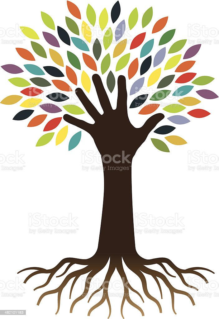 Hand and tree royalty-free stock vector art