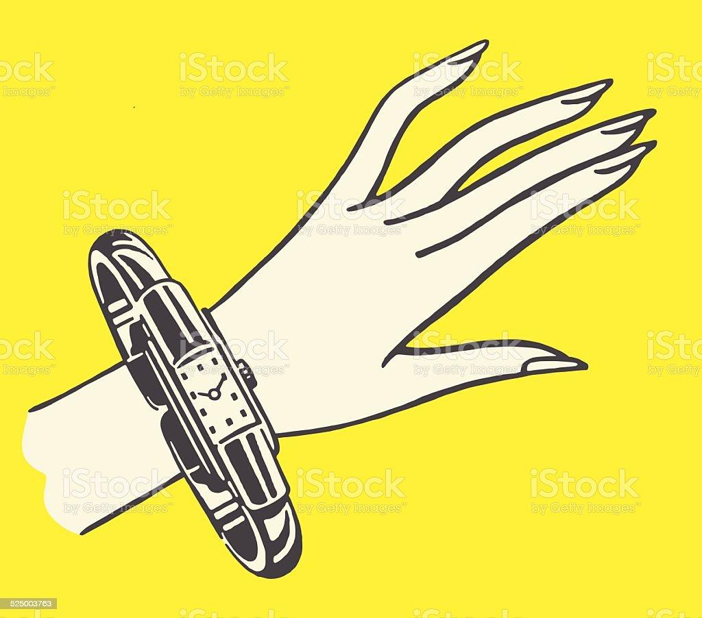 Hand and Watch Bracelet vector art illustration