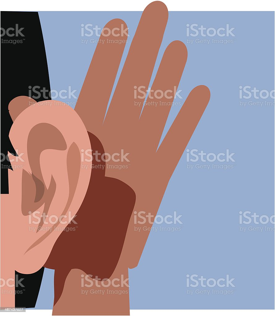 A hand being held behind an ear to assist in hearing vector art illustration