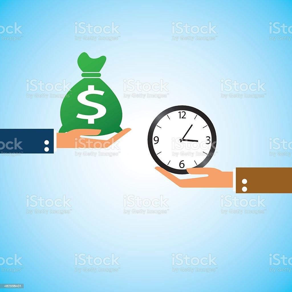 hand bring money clock time vector art illustration