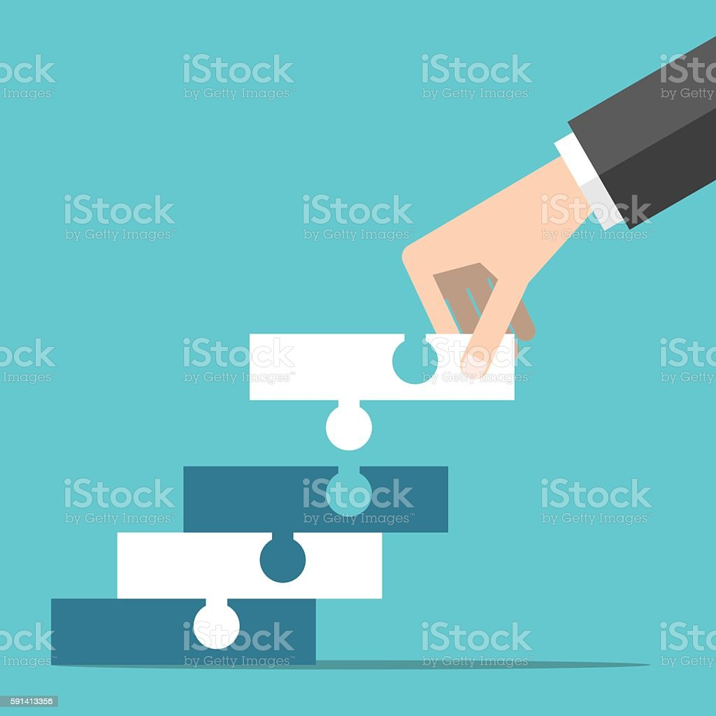 Hand building puzzle steps vector art illustration