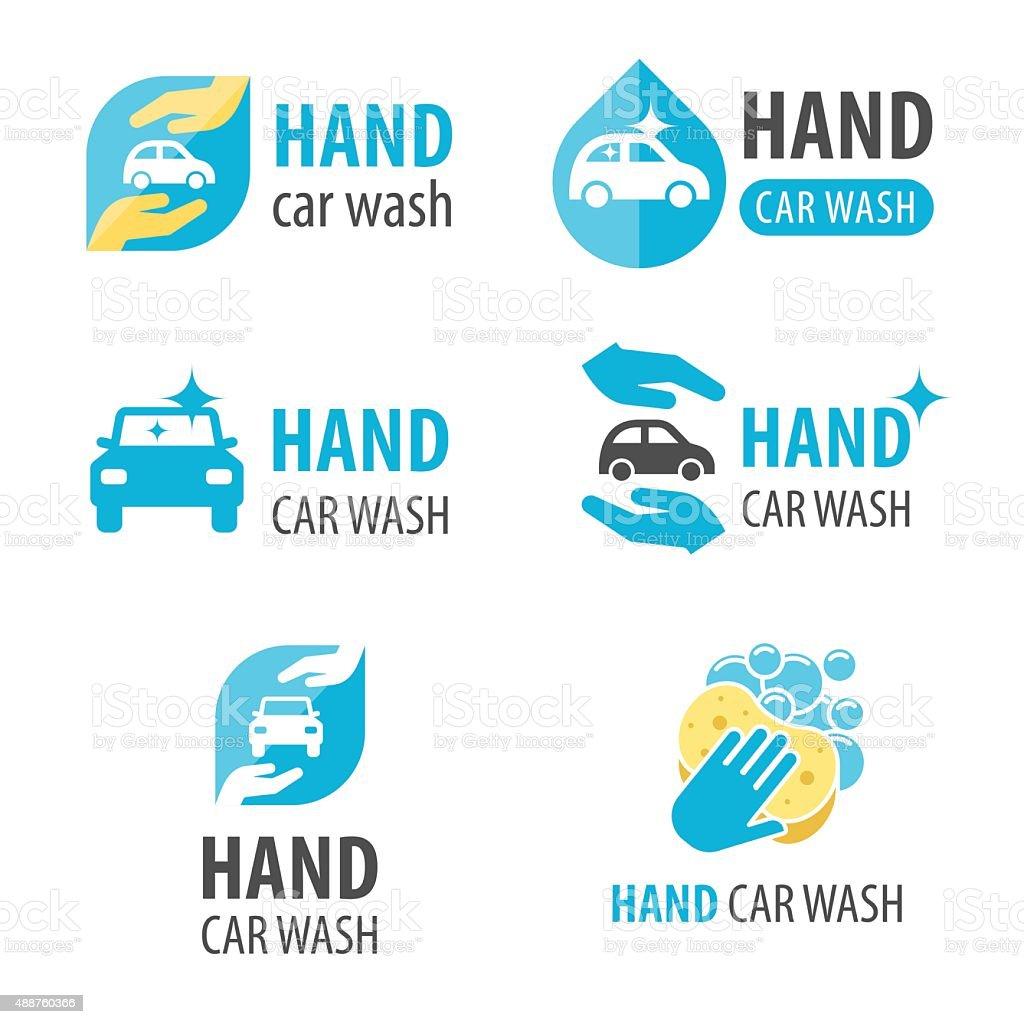 Hand car wash vector art illustration