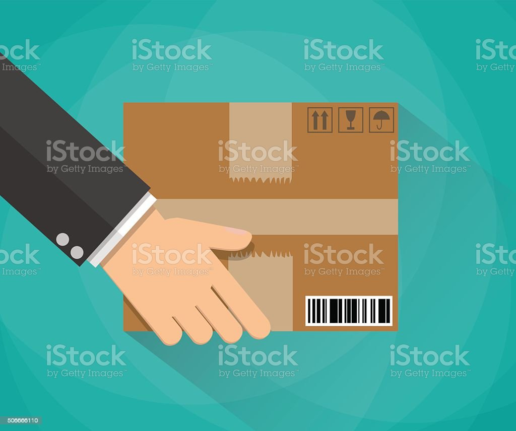 Hand carrying a cardboard box vector art illustration