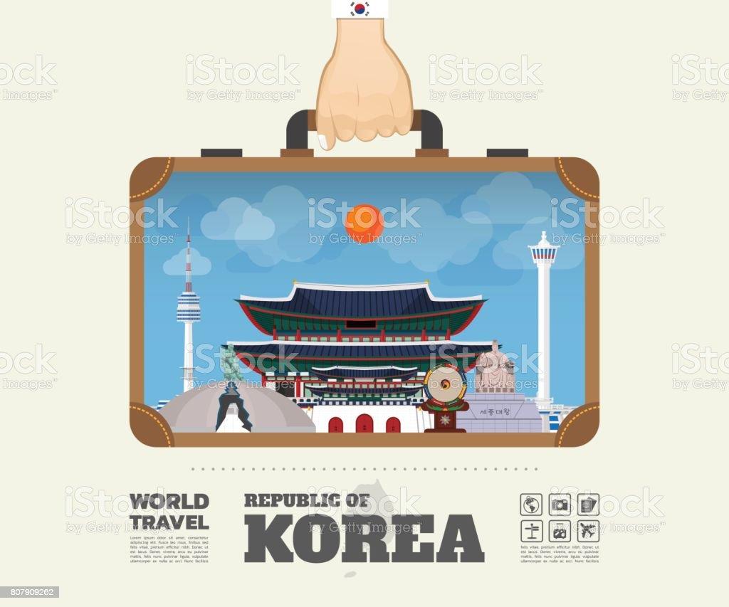 Hand carrying Korea Landmark Global Travel And Journey Infographic Bag. Vector Design Template.vector/illustration. vector art illustration