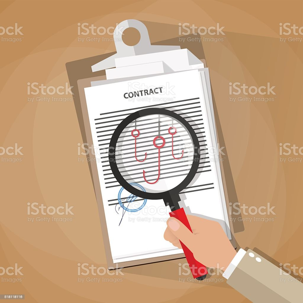 Hand checking contract vector art illustration