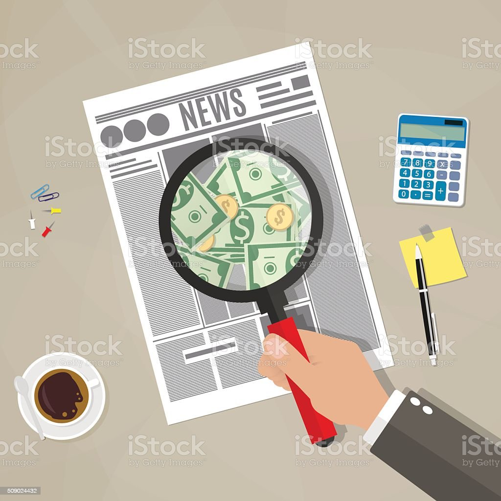 Hand checking newspaper vector art illustration