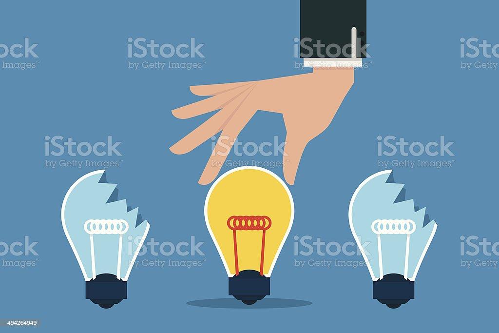 Hand choosing best idea bulb. vector art illustration