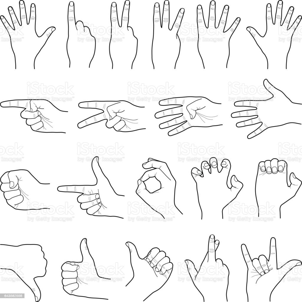 Hand collection - vector line illustration vector art illustration