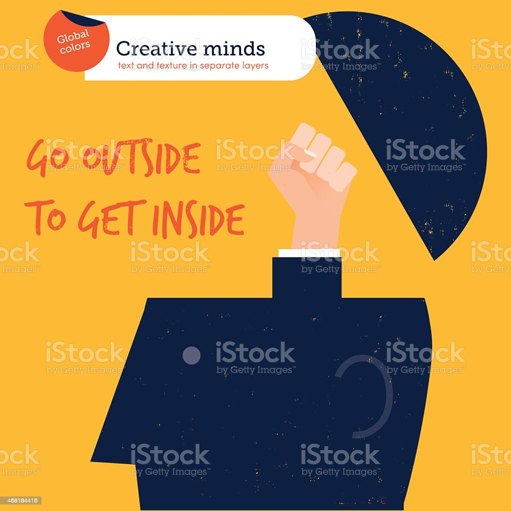 Hand coming out of head go outside to get inside vector art illustration