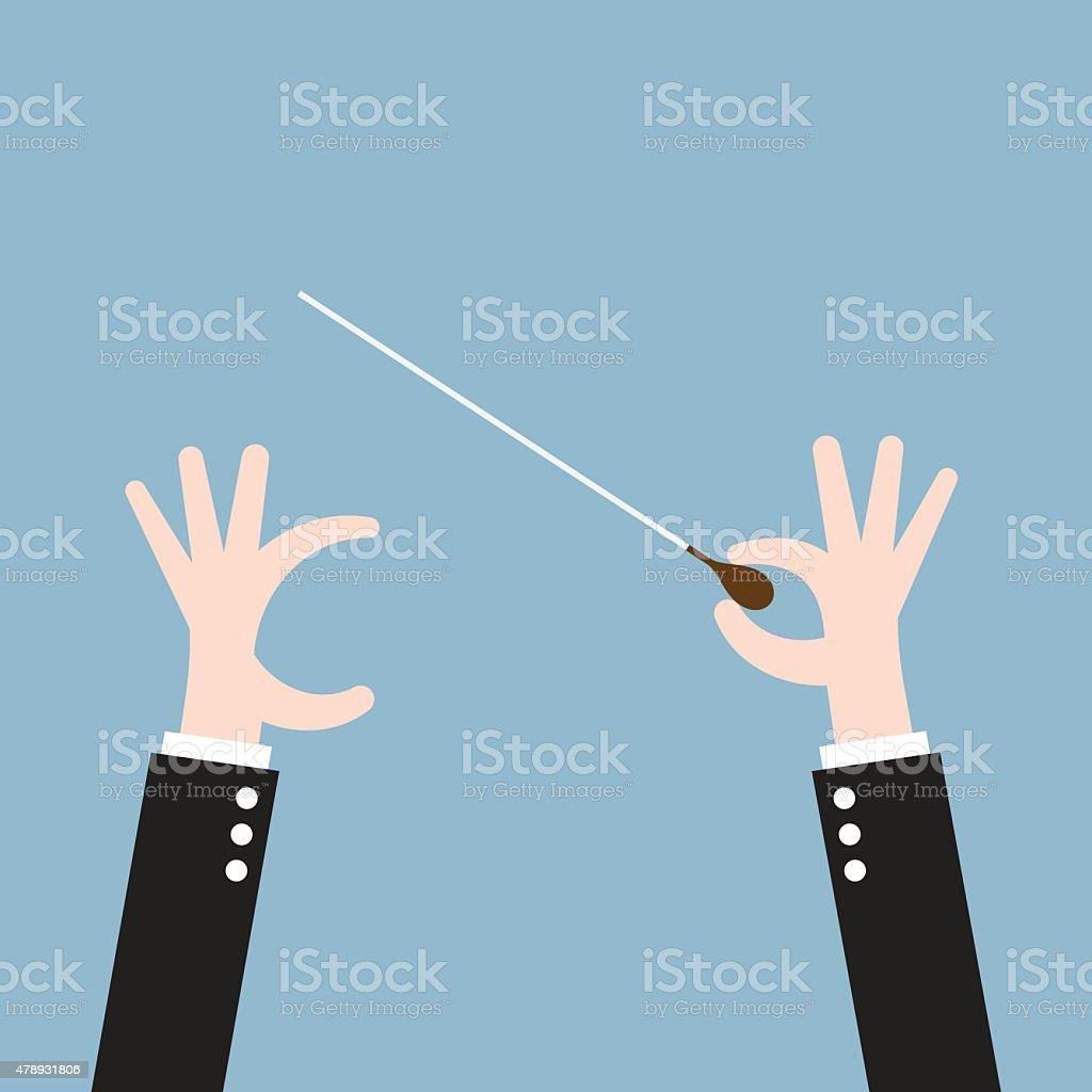 hand conductor baton vector art illustration