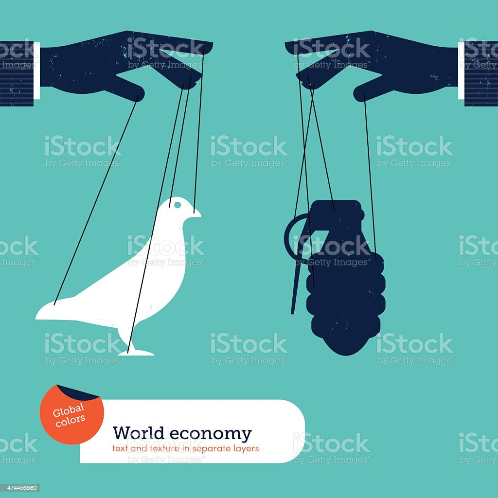 Hand controlling peace and war vector art illustration
