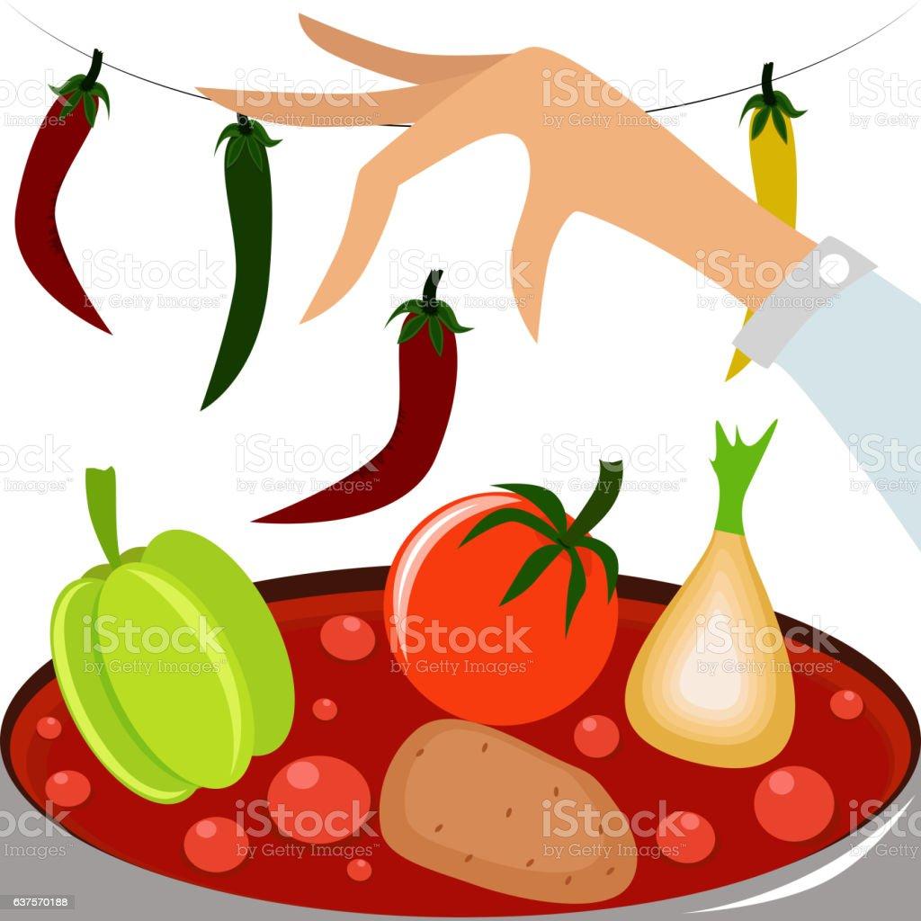 Hand cooking a vegetarian soup. vector art illustration