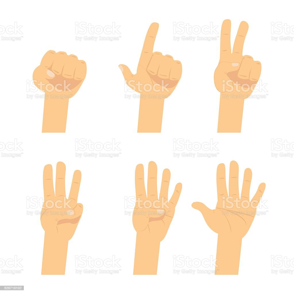 Hand count.  Flat finger and number isolated on white background. vector art illustration