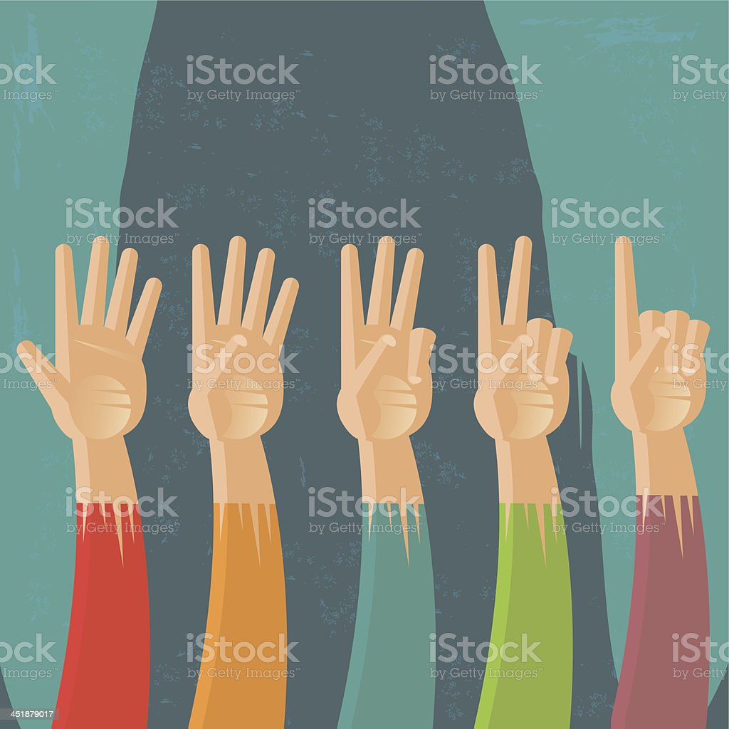 Hand countdown vector art illustration